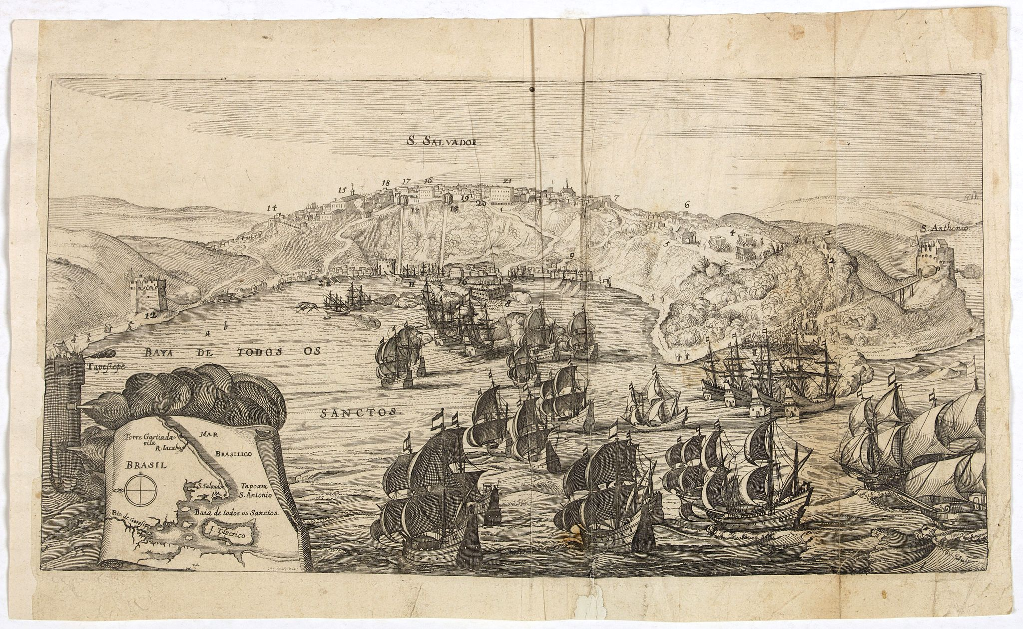 MERIAN, M.,  S. SALVADOR., antique map, old maps