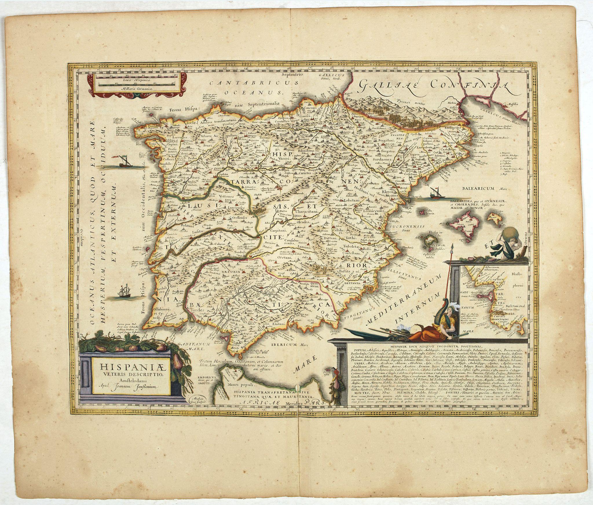 JANSSONIUS, J. -  HISPANIAE Veteris descriptio. Abraham Goos Sculpsit.