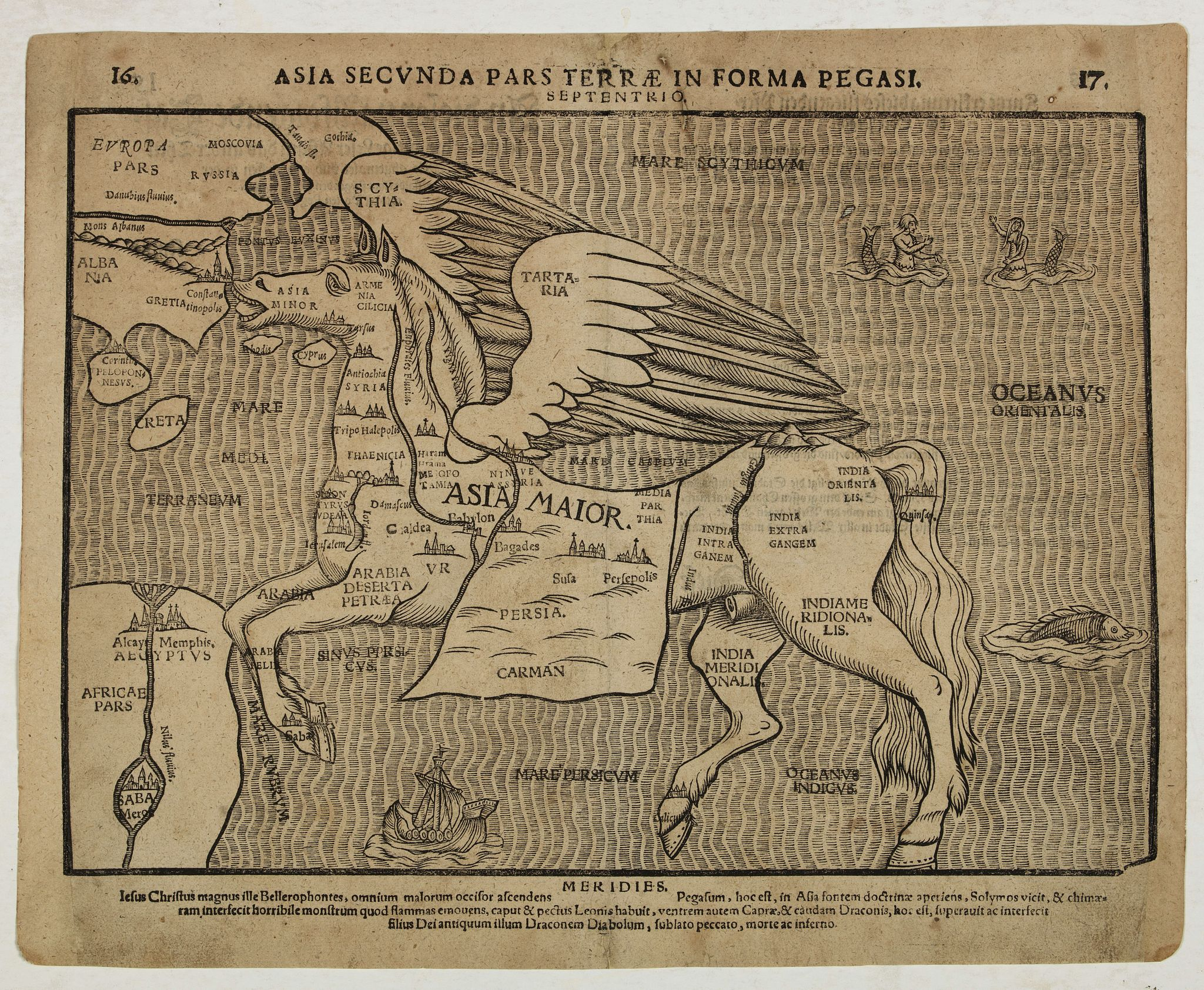 BÜNTING, H.,  Asia secunda pars terrae in forma Pegasi. [Asia is presented as the mythical winged horse Pegasus.], antique map, old maps