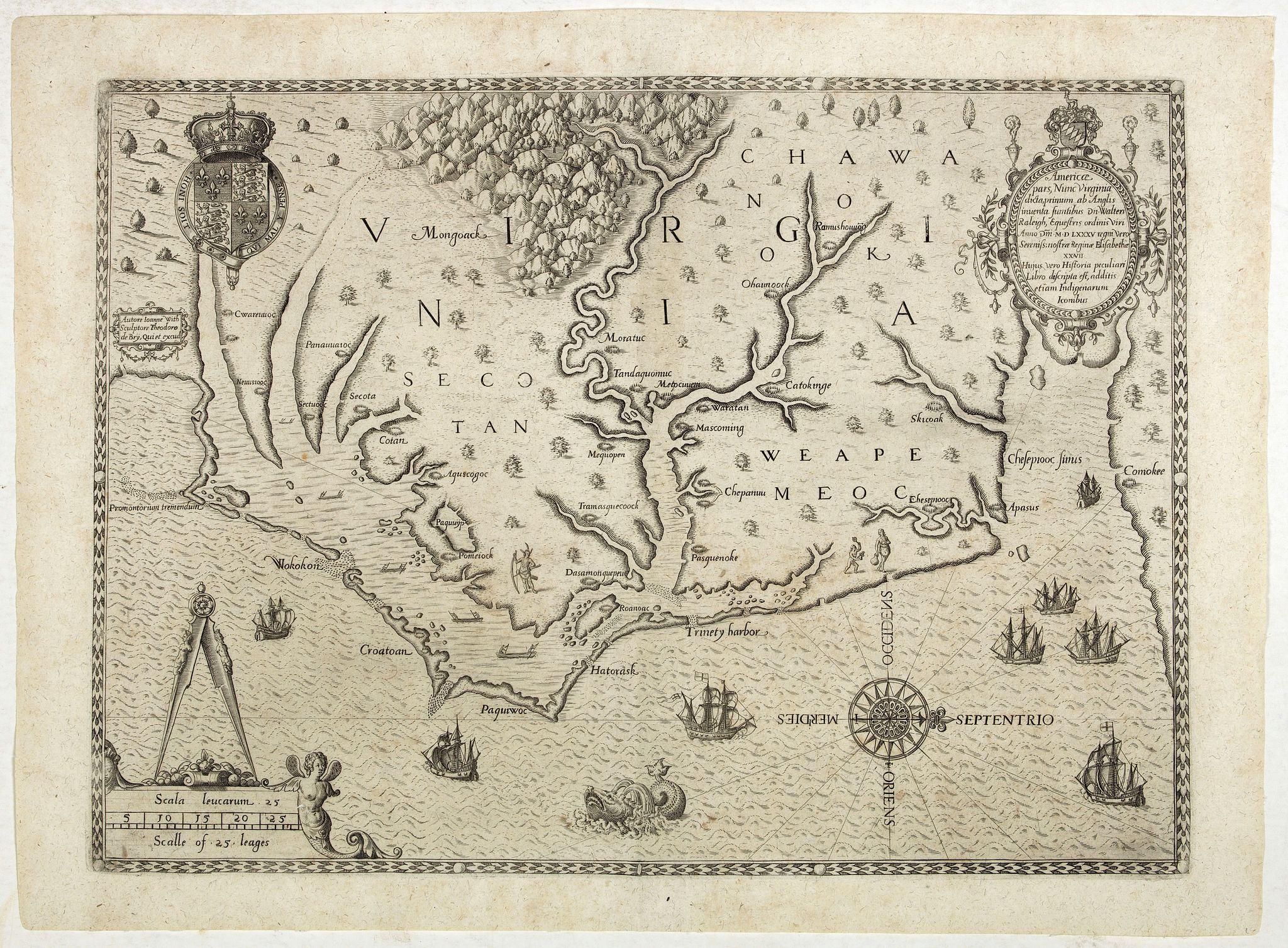 DE BRY, Th. -  Americae pars, Nunc Virginia dicta, primum ab Anglis. . .