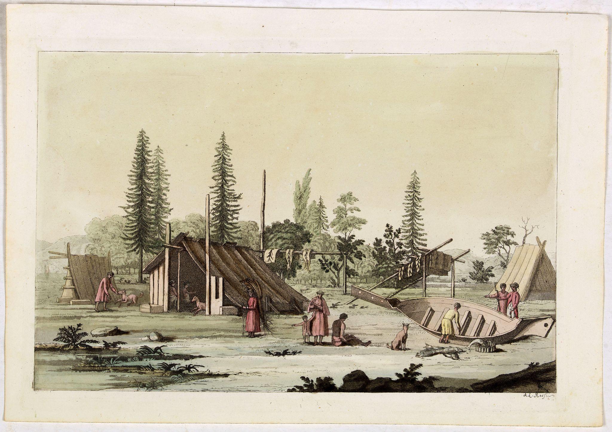 FERRARIO, G. -  [Native Americans of village at Nootka Sound].