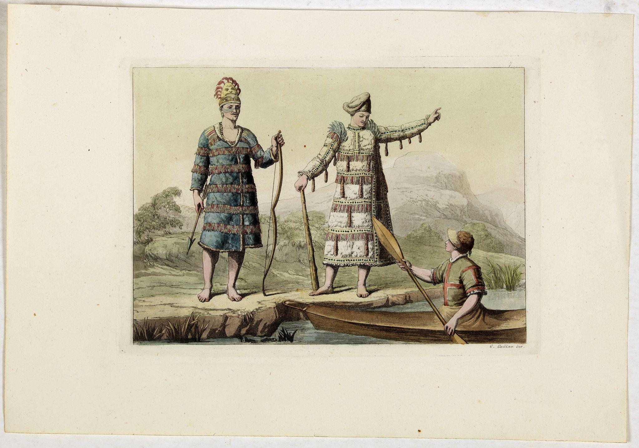 FERRARIO, G. -  [No title]. [three Alaska-North American Indians].