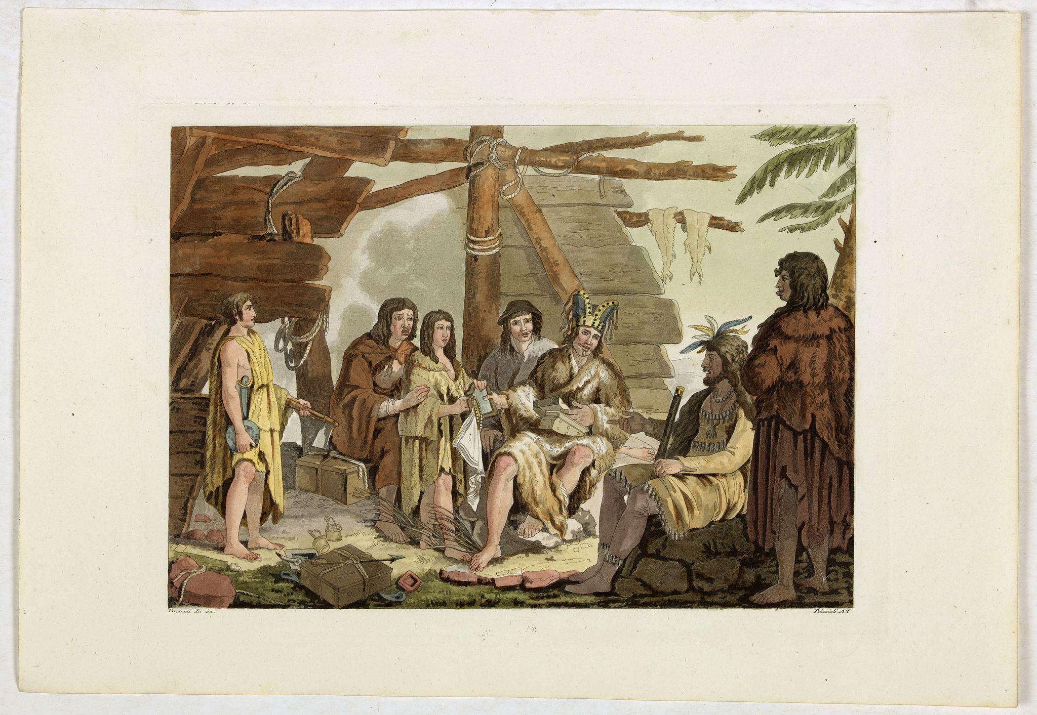FERRARIO, G. -  [Foggia di vestive degli Abitanti del Porto dei Francesi.' [Alaska-North American Indians].