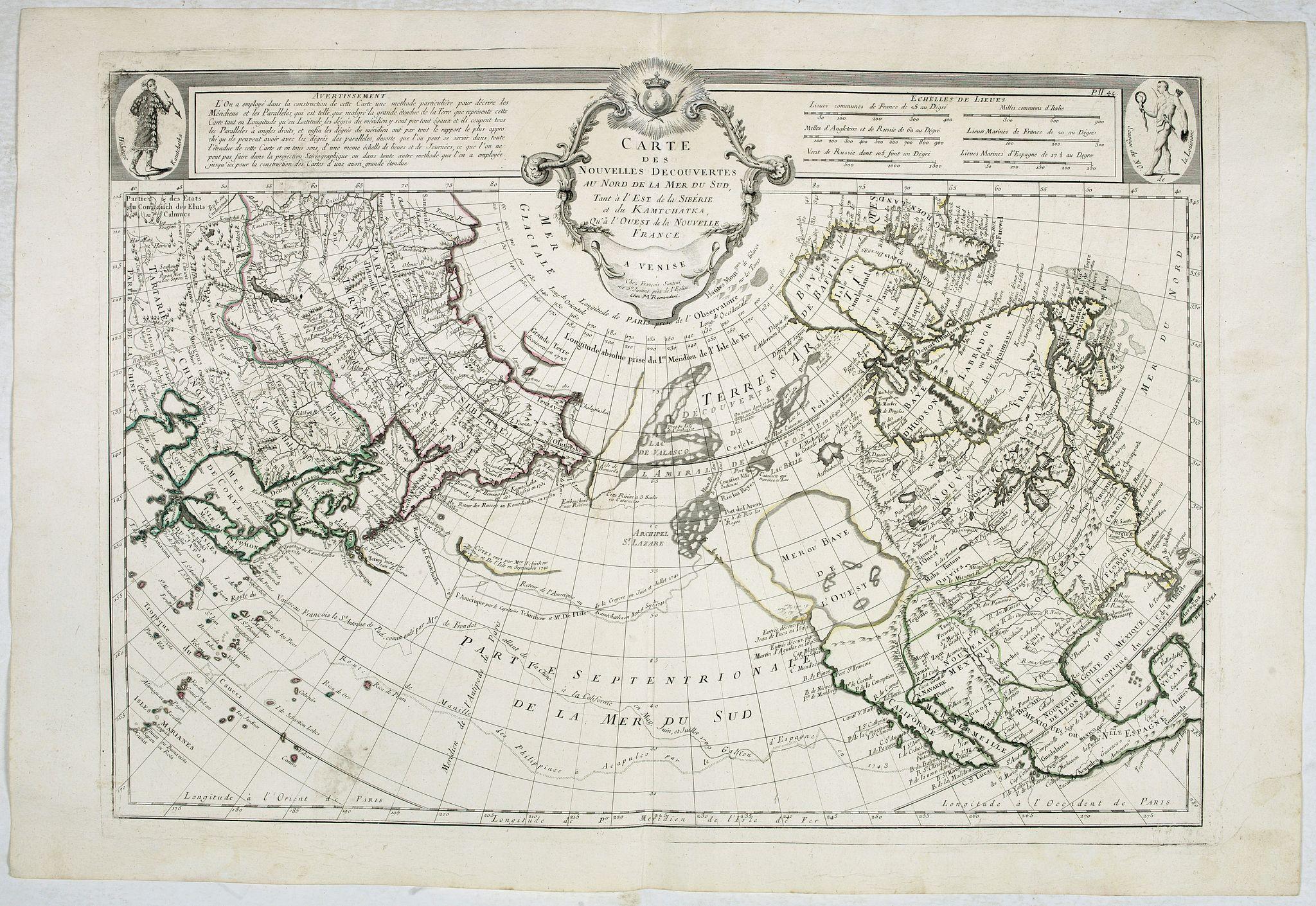 SANTINI, P. / REMONDINI, M. -  Carte des nouvelles decouvertes au Nord de la Mer du Sud.
