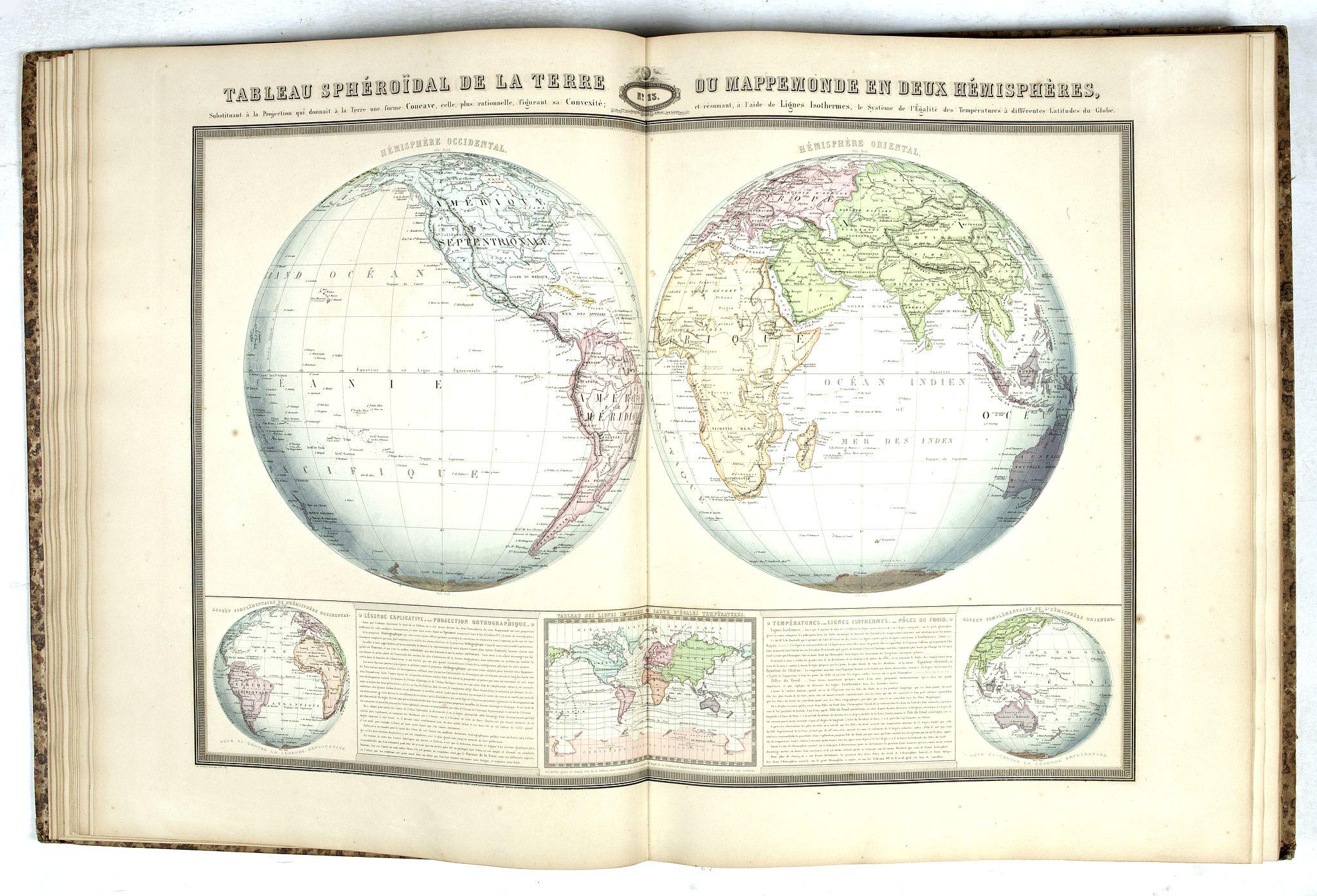 GARNIER, F.A. -  Atlas Sphéroïdal et Universel de Géographie. Dressé à l'aide des documents officiels, récemment publiés en France et à l'étranger.