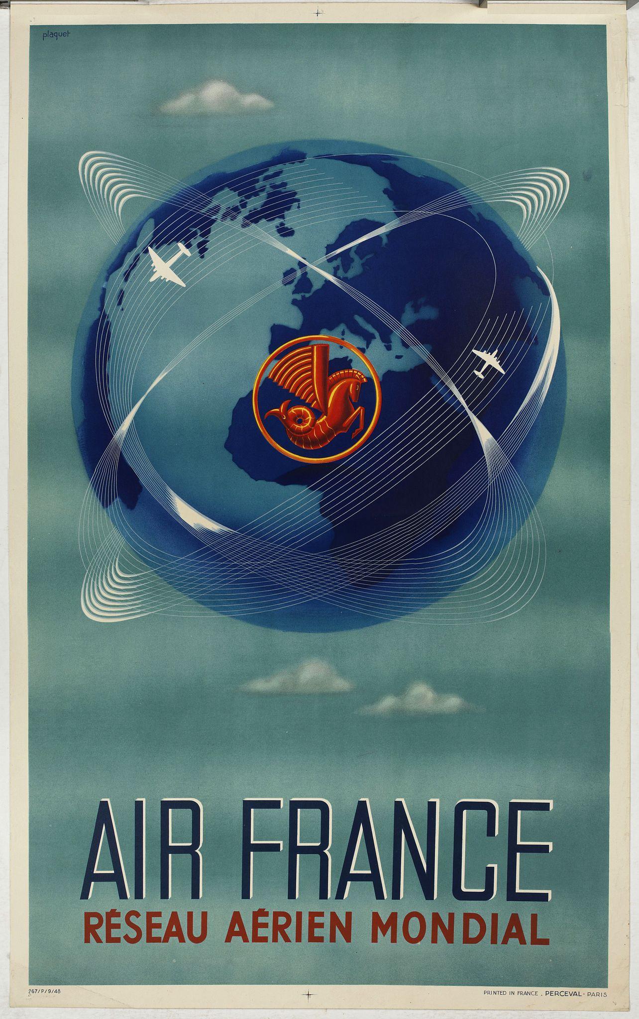 PLAQUET. / AIR FRANCE -  Réseau aérien mondial.