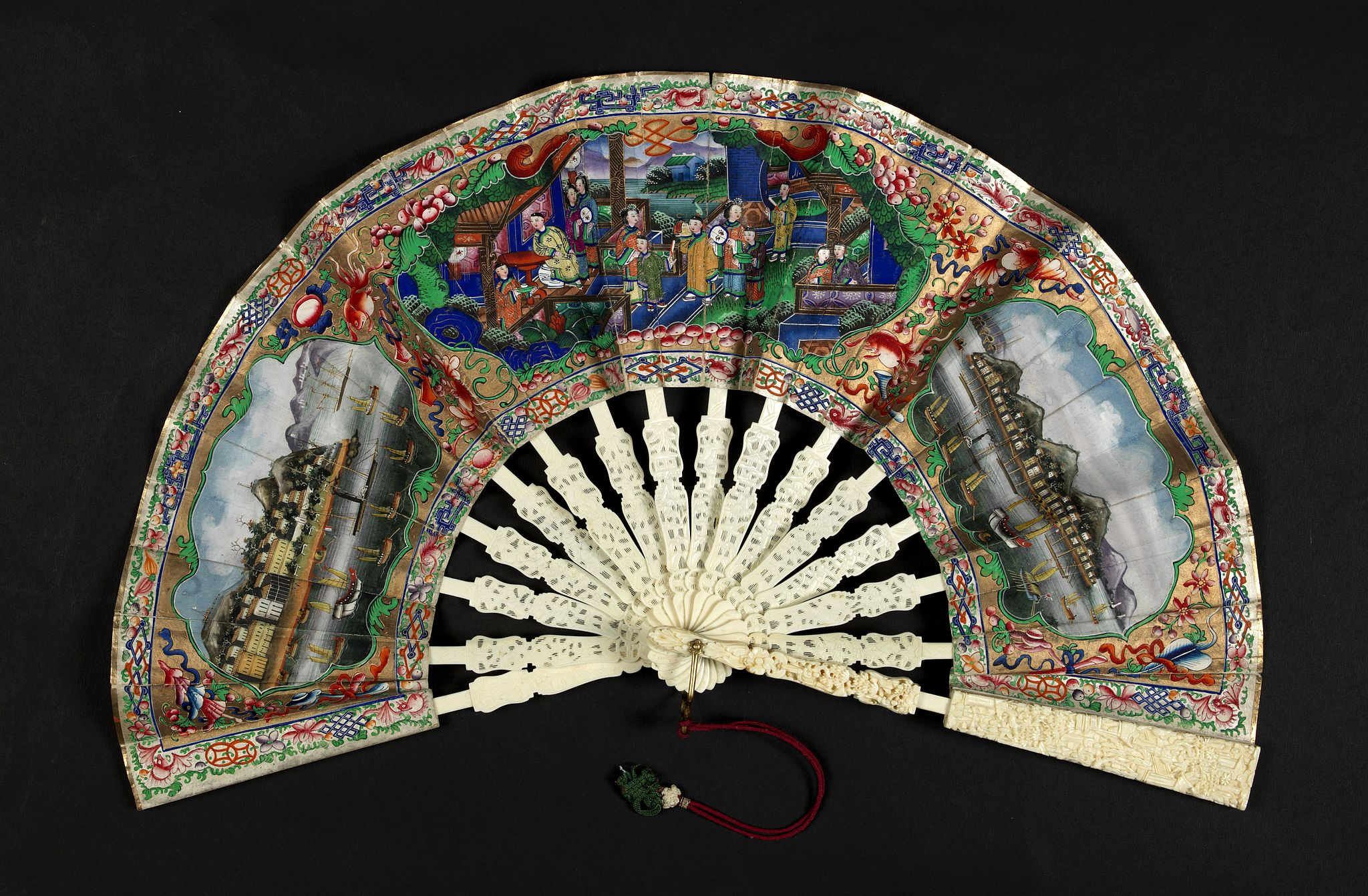 ANONYMOUS -  A fan combines views of Hong Kong (right), Canton (left), China, ca 1850-1860.