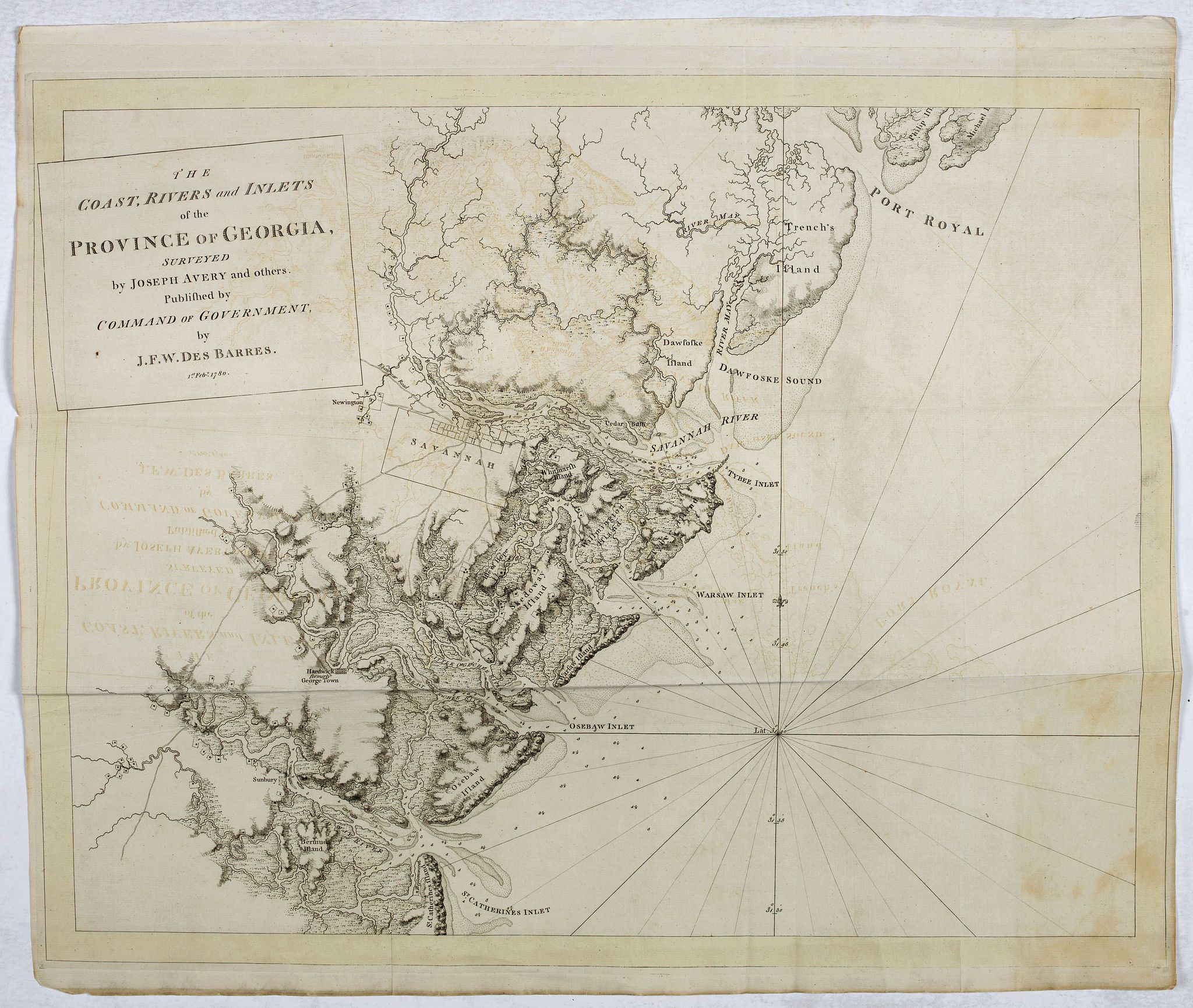 DES BARRES, J.F.W. -  The coast, rivers and inlets of the Province of Georgia surveyed by Joseph Avery and others. . .