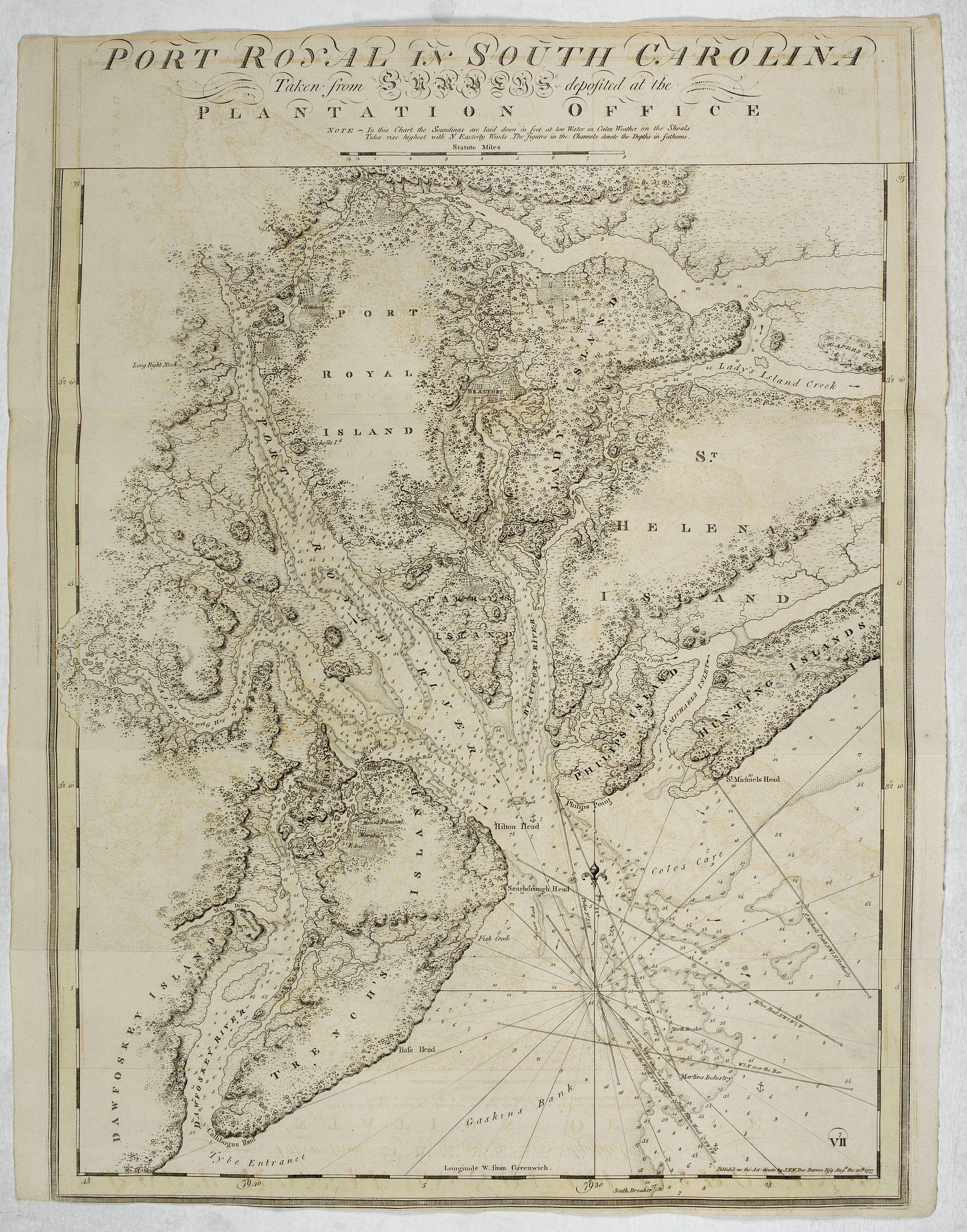 DES BARRES, J.F.W. -  Port Royal in South Carolina Taken from Surveys Deposited at the Plantation Office . . .