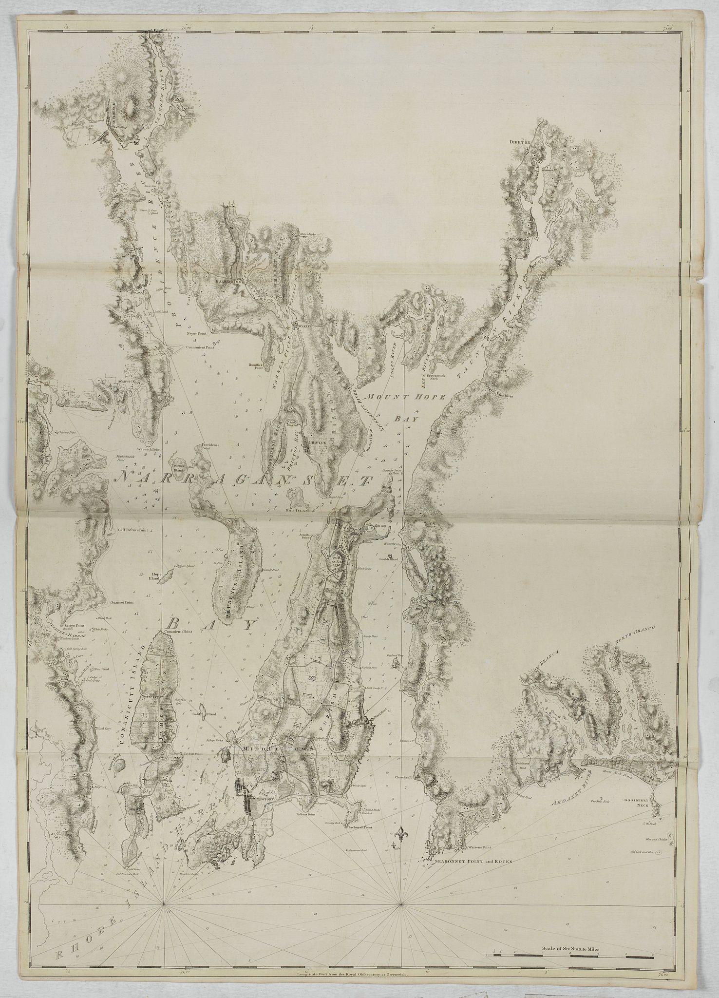 DES BARRES, J.F.W. -  [ Narraganset Bay and Rhodes Island and Harbour. ]
