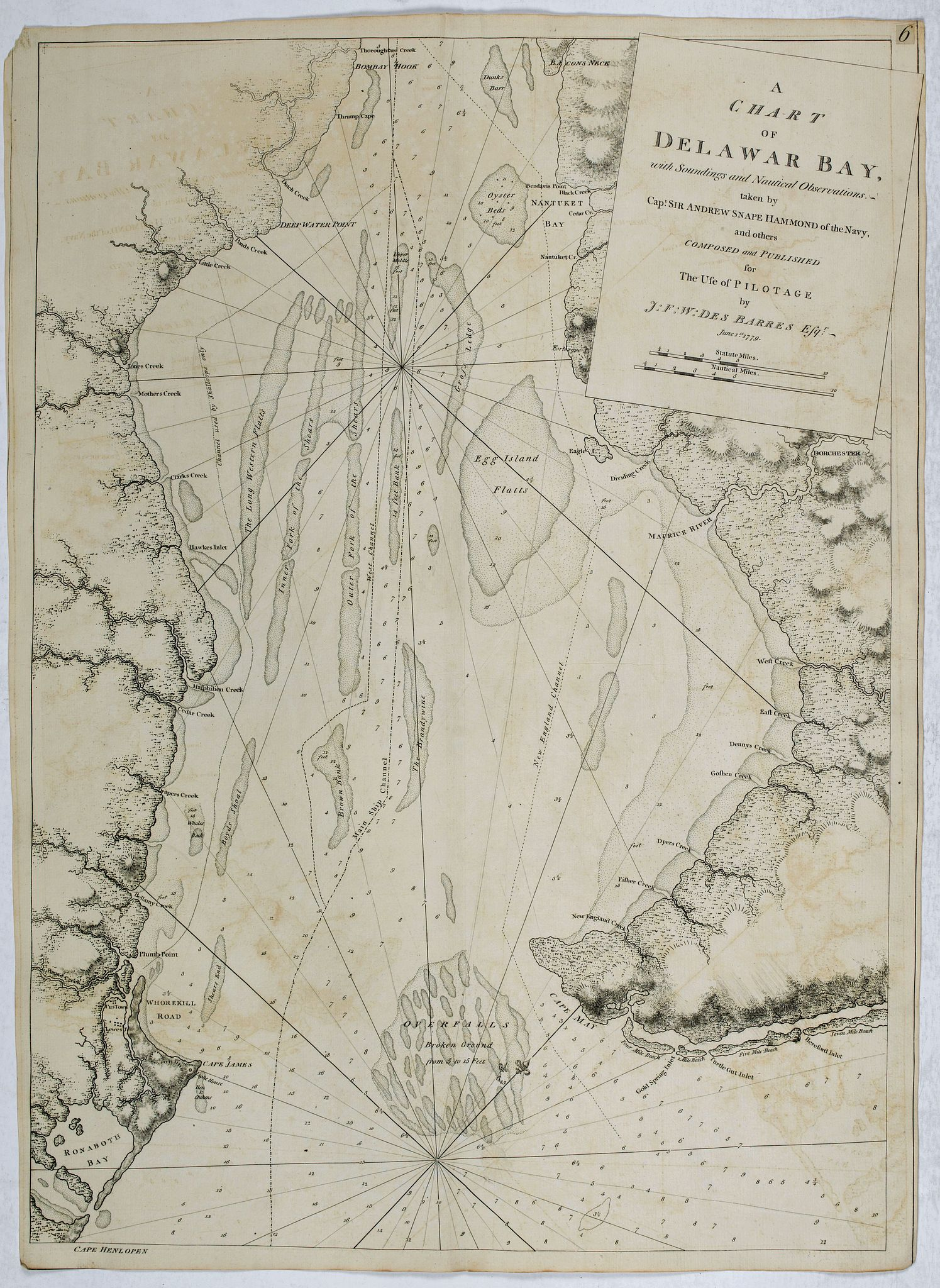 DES BARRES, J.F.W. -  A Chart of Delawar Bay, with Soundings and Nautical Observations. taken by Capt. Andrew Snape Hammond . . .  June 1st 1779