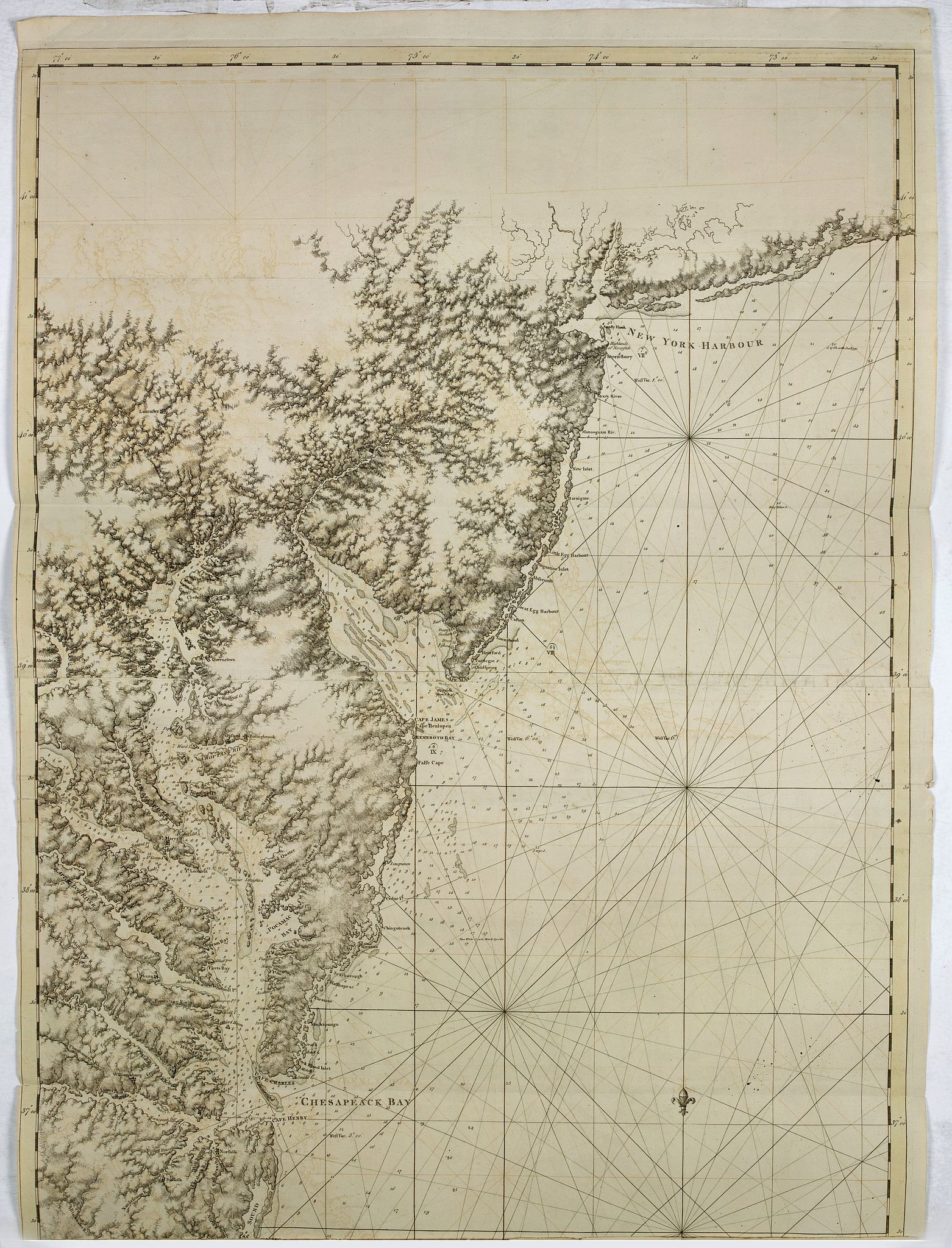 DES BARRES, J.F.W. -  A chart of the coast of New York, New Jersey, Pensilvania, Maryland, Virginia, North Carolina, & c. . . .