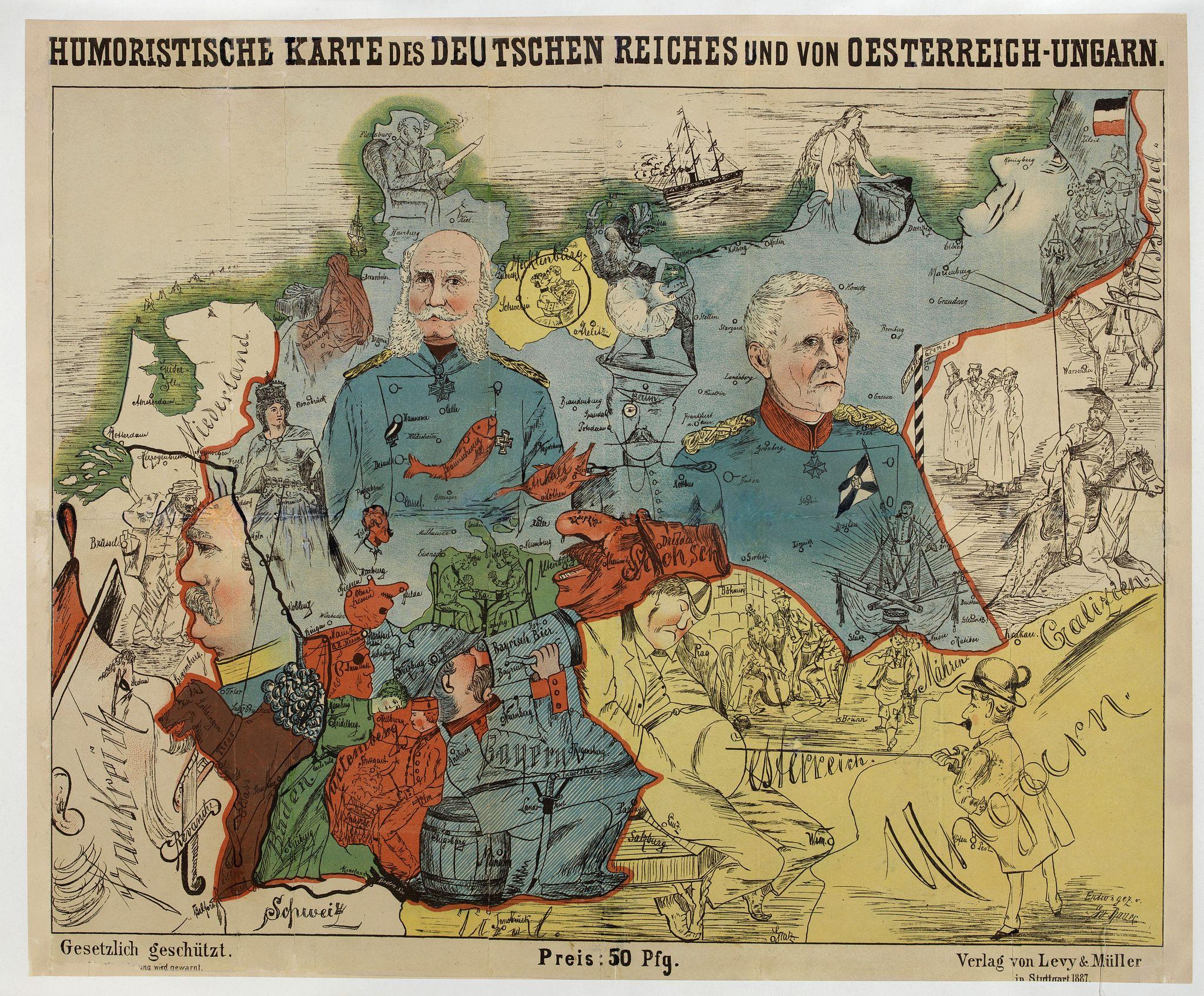 LEHMANN-DUMONT, K. -  Humoristische Karte von Europa im Jahre 1914.