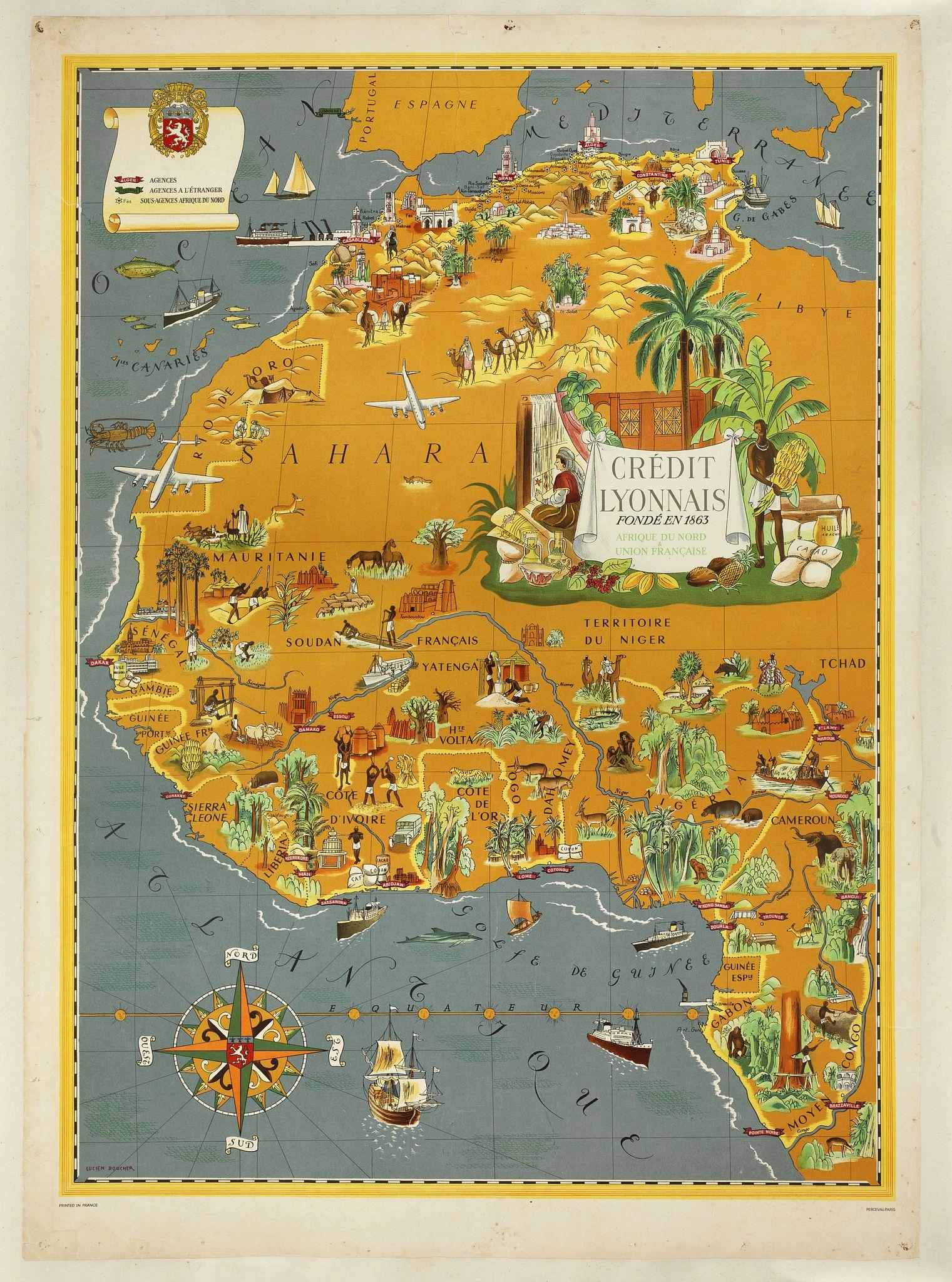BOUCHER, L. -  [Planisphère] - Crédit Lyonnais - Fondé en 1863. Afrique du Nord à Union Française.