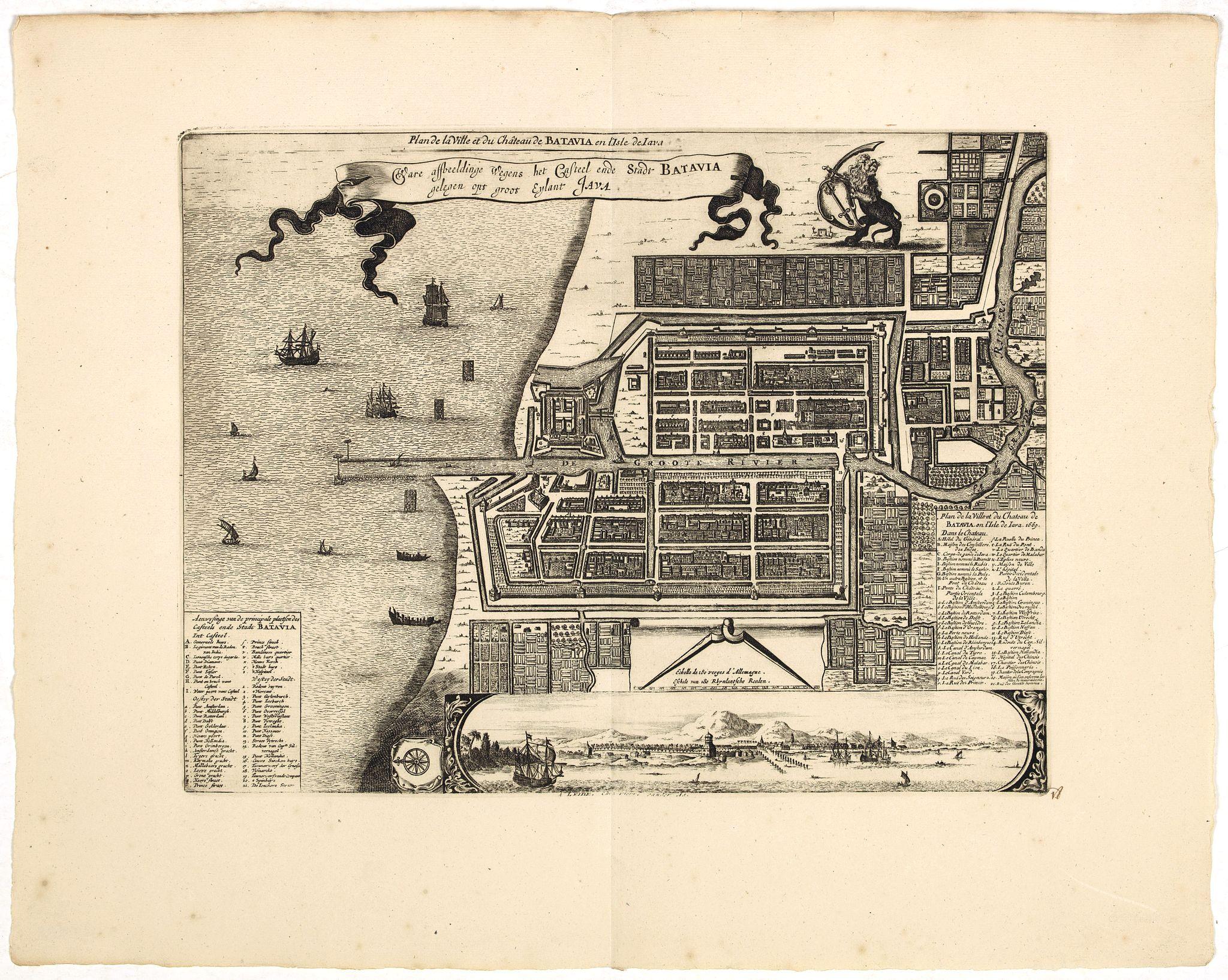 VAN DER AA, P. / OLEARIUS, A. -  Plan de la Ville et du Chateau de Batavia en l'Isle de Iava / Ware affbeeldinge wegens het Casteel ende Stadt Batavia gelegen opt groot Eylant Java.