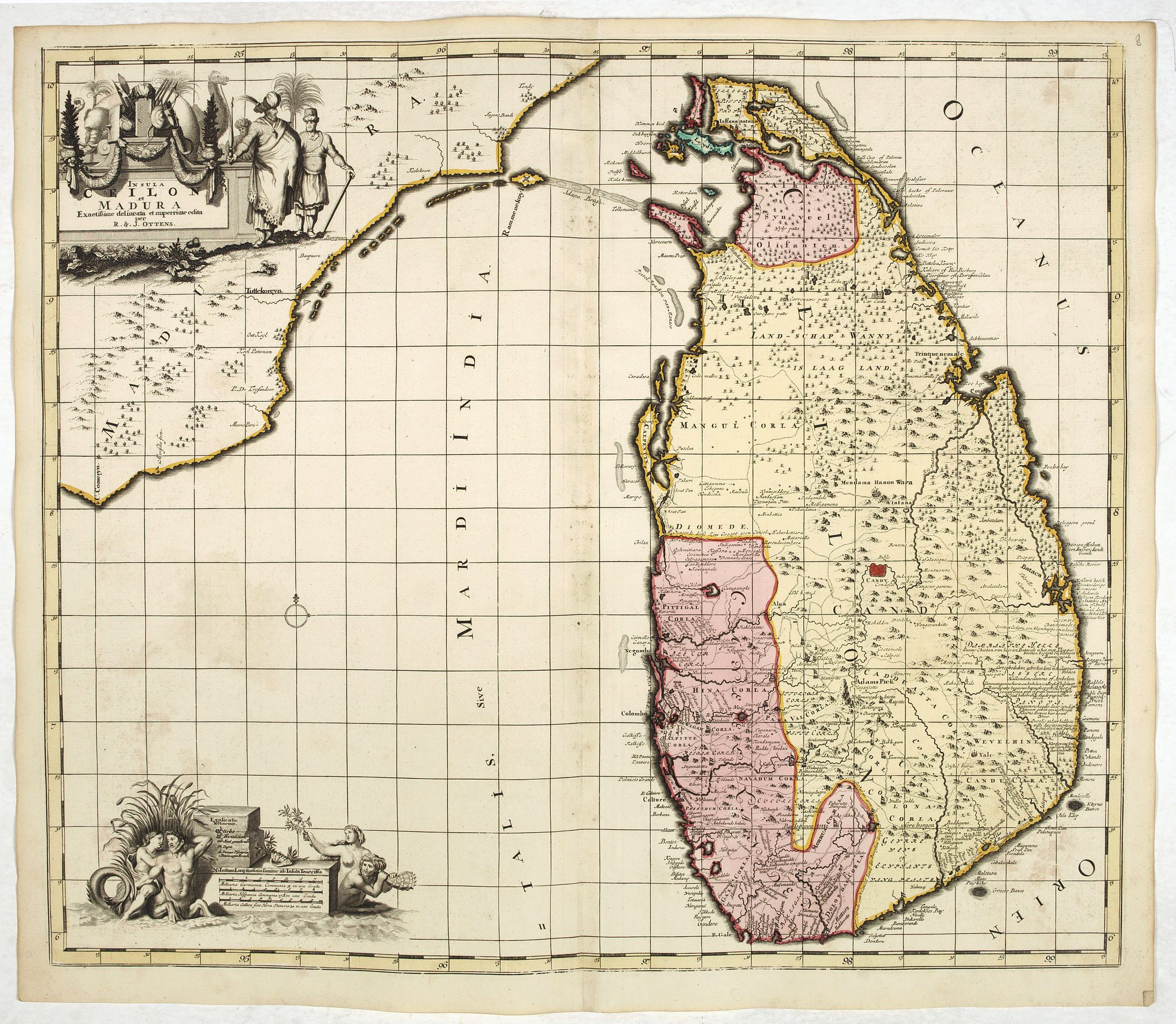 OTTENS, R. & J. -  Insula Ceilon et Madura / Exactissime delineata et nuperrime edita per R. & J. Ottens.