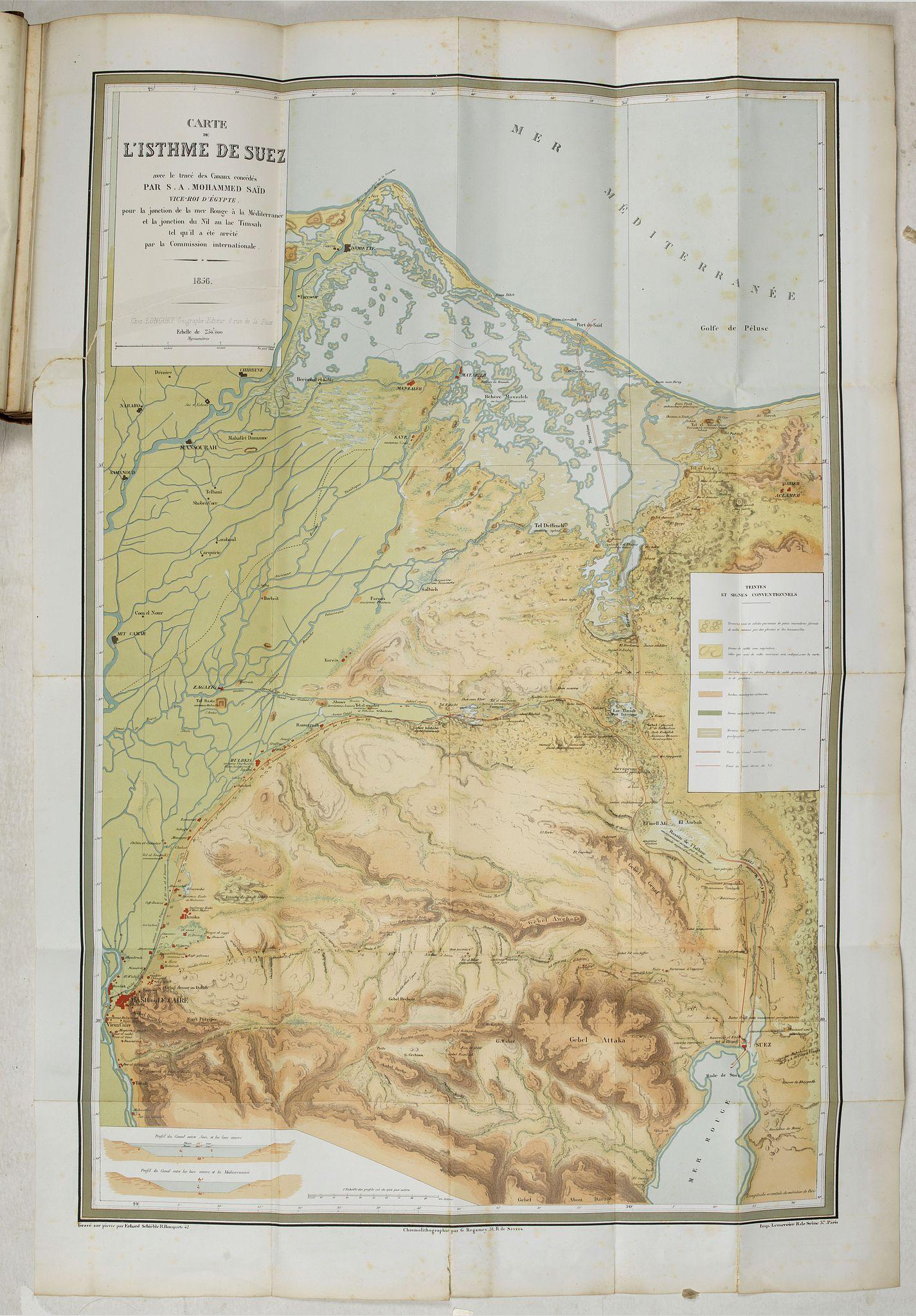 LESSEPS, Ferdinand de. -  Percement de l'isthme de Suez. Atlas des cartes, plans, sondages, profils et forages à l'appuie du projet de la commission internationale. . .