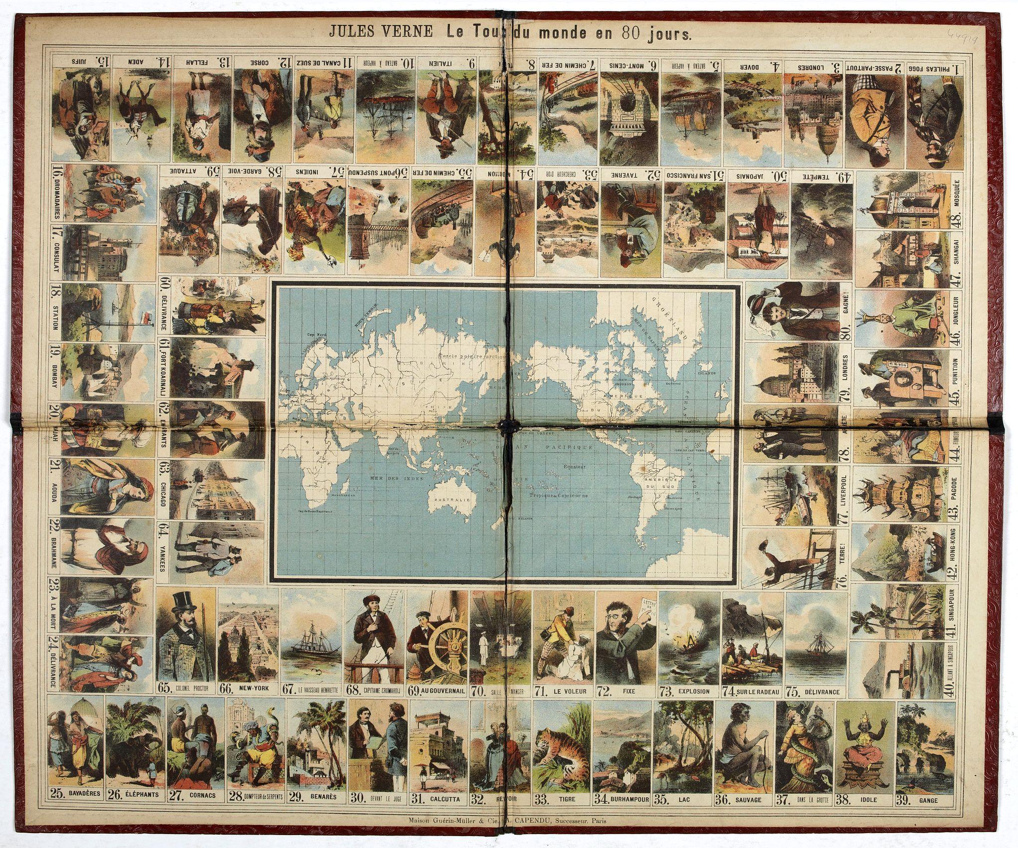GUERIN-MULLER & CIE. / CAPENDU, A. -  Jules Verne Le Tour du Monde en 80 jours. [Goose game board inspired by Jules Verne's novel Tour du Monde en 80 jours.]