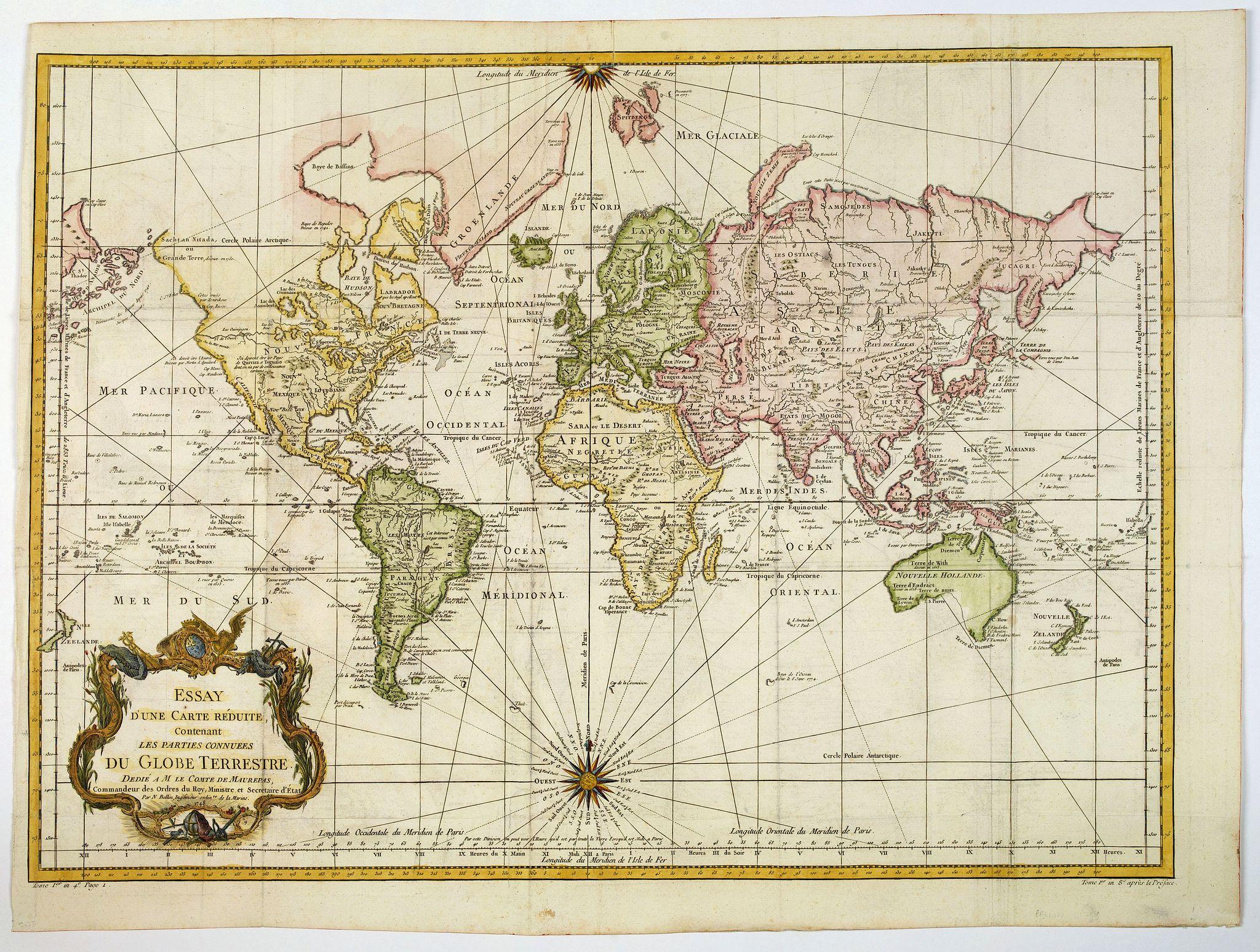 BELLIN, J.N. -  Essay d'une carte reduite contenant les parties connuees Du Globe Terrestre. . .