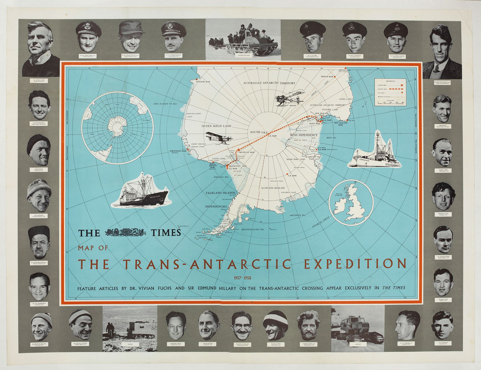 ANONYMOUS -  The Times Map Of The Trans-Antarctic Expedition Antarctica South Pole Vivian Fuchs Edmund Hillary.