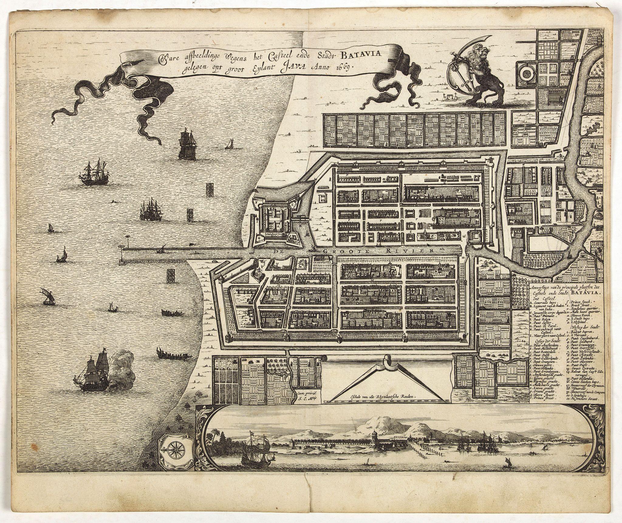VANDER AA, P. -  Waere affbeeldinge wegens het casteel ende stadt Batavia.