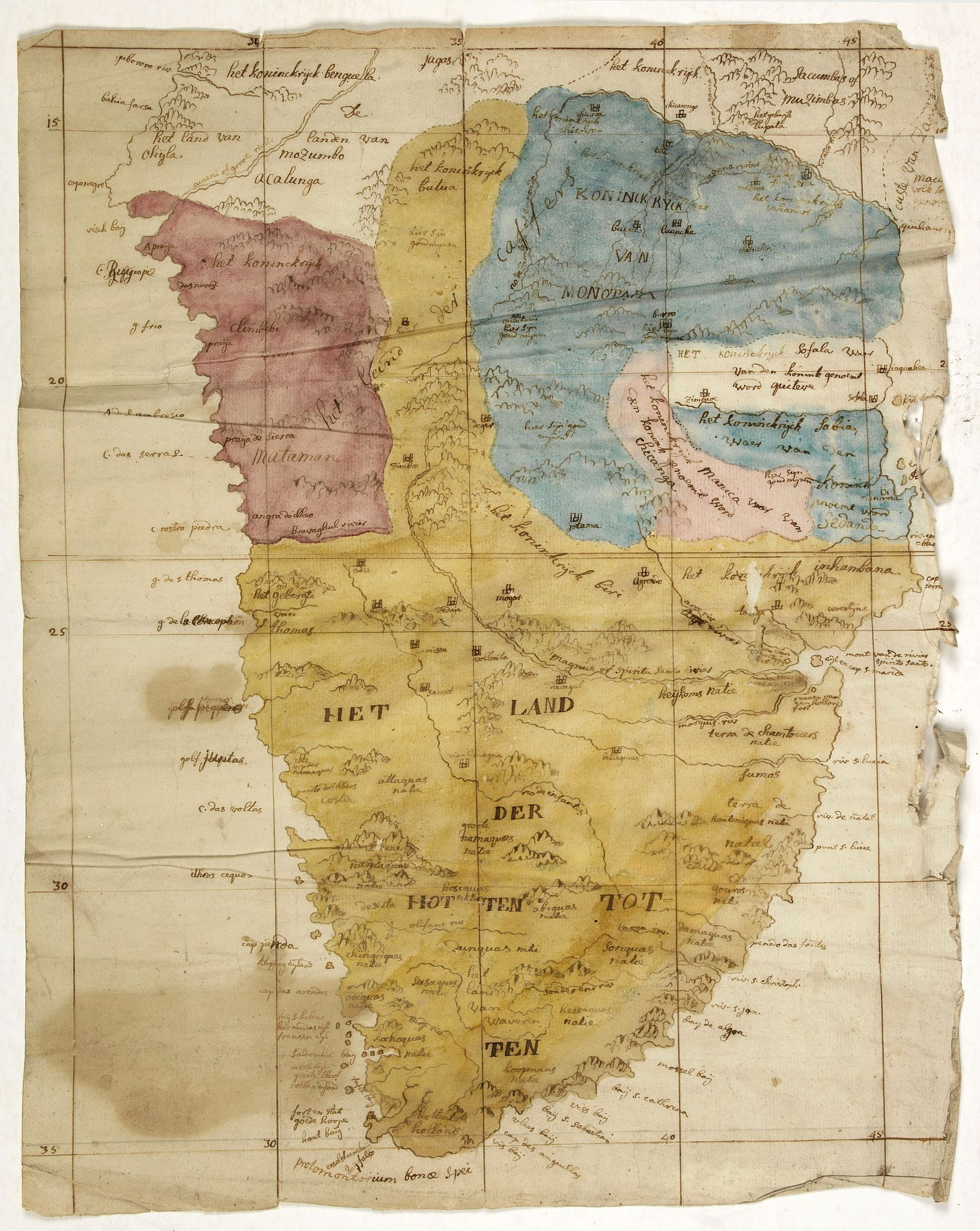 ANONYMOUS -  (Cape of Good Hope manuscript map)