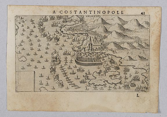 ROSACCIO, Giuseppe.,  [View of Navarino], antique map, old maps