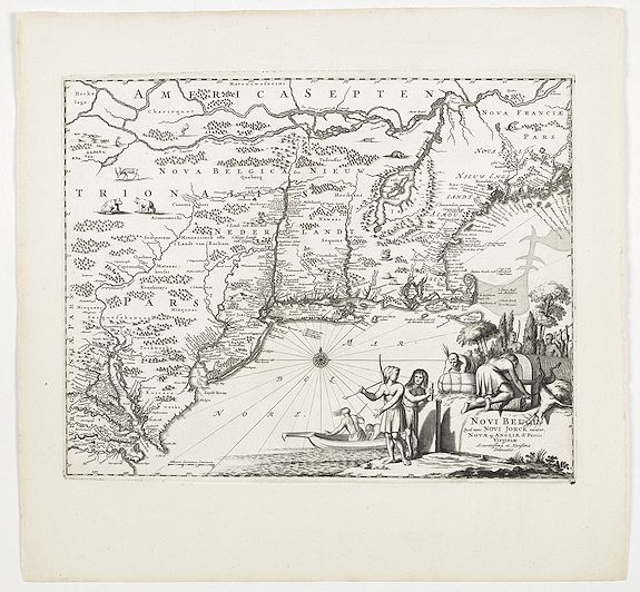 MONTANUS, A. -  Novi Belgii, quod nunc Novi Jorck vocatur, Novaeque Angliae & Partis Virginiae Accuratissima et Novissima Delineatio.