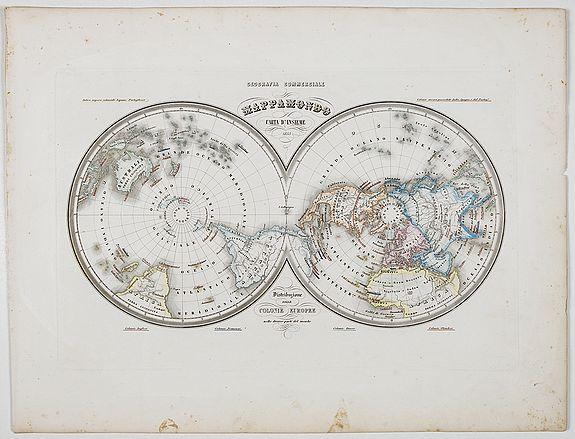 MARMOCCHI, F.C. -  Mappamondo Carta d'Insieme.
