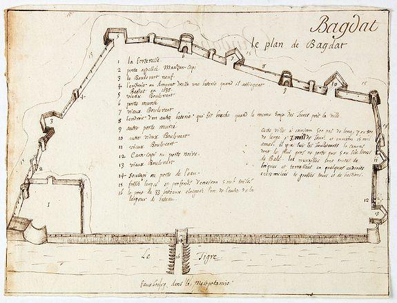 ANONYMOUS -  Bagdat le plan de Bagdat. [Manuscript plan of Bagdad]