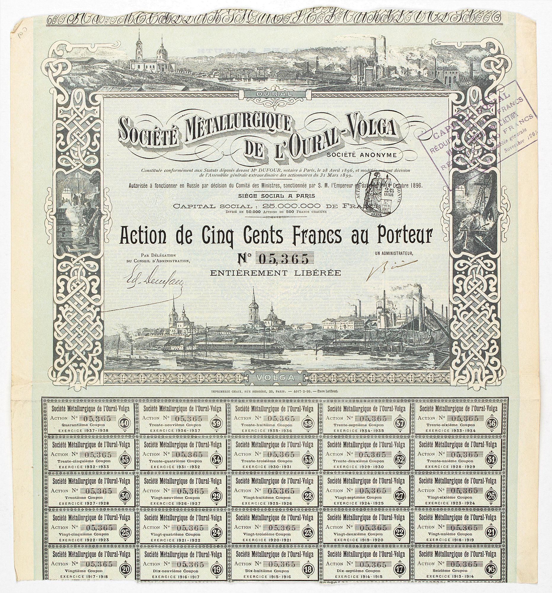 SOCIETE METALLURGIQUE DE L'OURAL-VOLGA -  Shares of 500 francs. # 05365