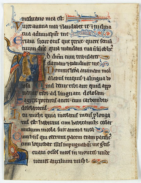 PSALTER -  Illuminated leaf from a liturgical Psalter.