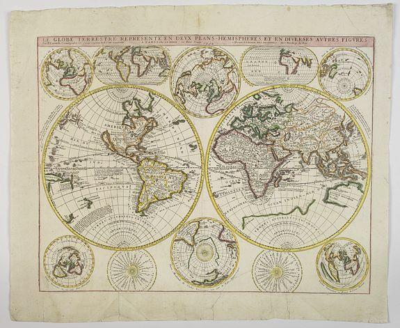 NOLIN, J.B. -  Le Globe Terrestre Represente en Deux Plans-Hemispheres, et en Diverses Autres Figures.