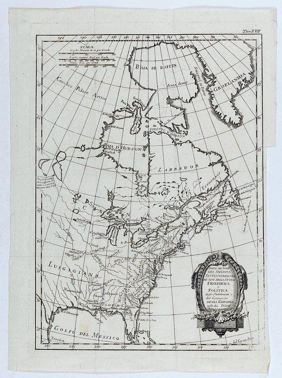 RAYNAL, G.-Th. - Parte del Nord del America Settentrionale ad uso della storia filosofica e politica degli Stabilimenti e del Commercio degli Europei nelle due Indie.