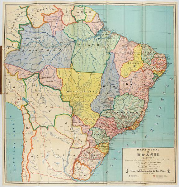 CARNEIRO DA SILVA, J. / VOSS, Pedro. -  Mapa geral do Brasil / organizado pelos J. Carneiro da Silva e Pedro Voss. [Together with] Micro geografia do Brasil. [Together with] Pequeno Mapa do Brasil.