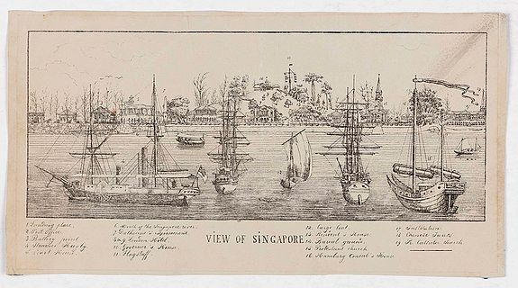 ANONYMOUS,  View of Singapore, antique map, old maps