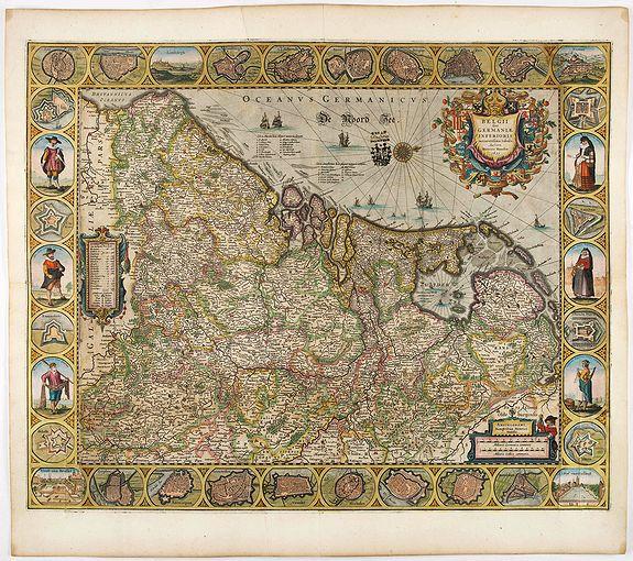 HONDIUS, H. -  Belgii sive Germaniae Inferioris accuratissima tabula.