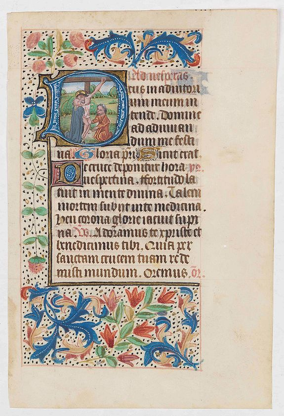BOOK OF HOURS,  Leaf from a Flemish Book of Hours on vellum., antique map, old maps