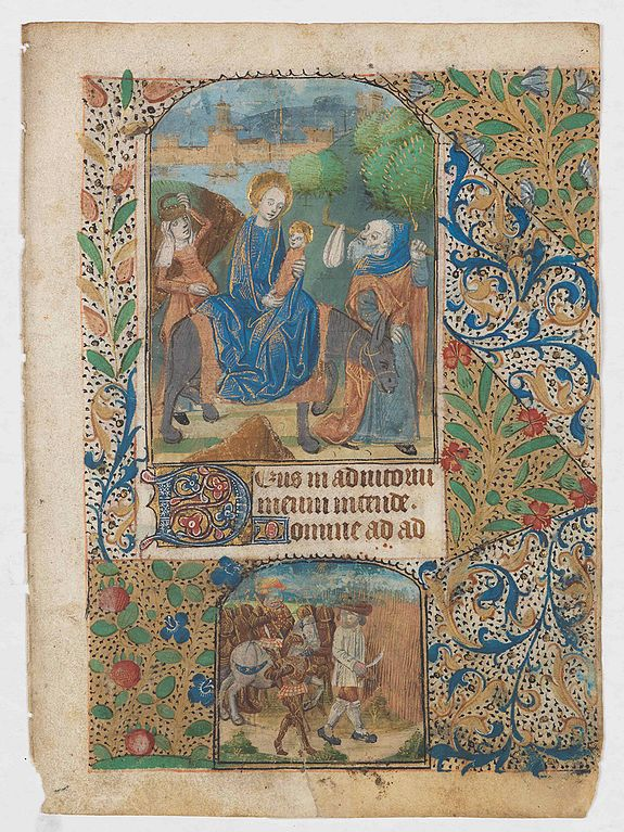 BOOK OF HOURS,  Leaf from a French, probably Breton, Book of Hours, written on vellum, with arch topped miniature showing the Flight of the Holy family into Egypt., antique map, old maps