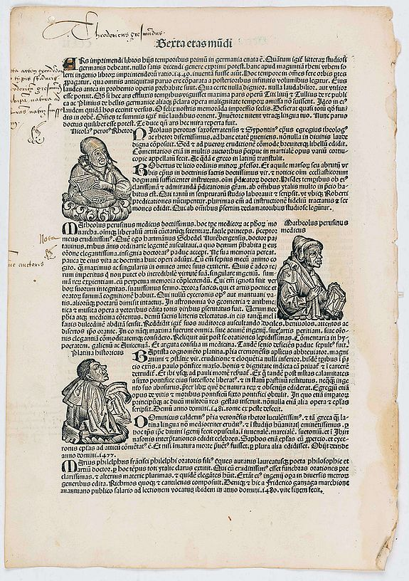 SCHEDEL, H. -  [Text page with portrait of Matheolus Perusinus, Kings and Roman personalities. - Sexta Etas Mundi CCLII].