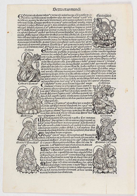 SCHEDEL, Hartmann. -  [Text page with Saints, Kings and Queens.] Sexta Etas Mundi. Foliu. CXXIIII.