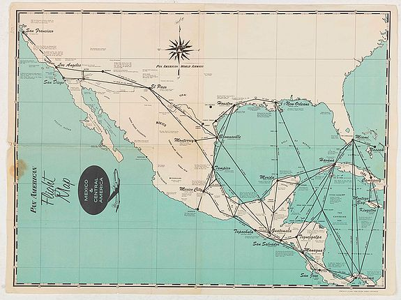PAN AMERICAN, Pan American Flight Map - Mexico & Central America., antique map, old maps