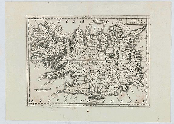 CORONELLI, V.M., Isola d'Islanda, antique map, old maps