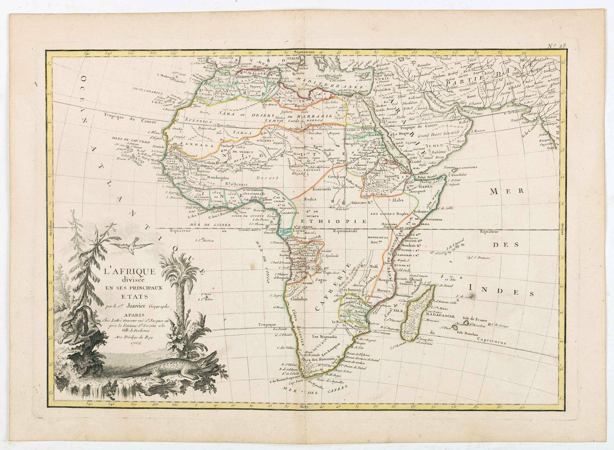 LATTRÉ / JANVIER,Sr. - L'Afrique divisée en ses principaux Etats. . .