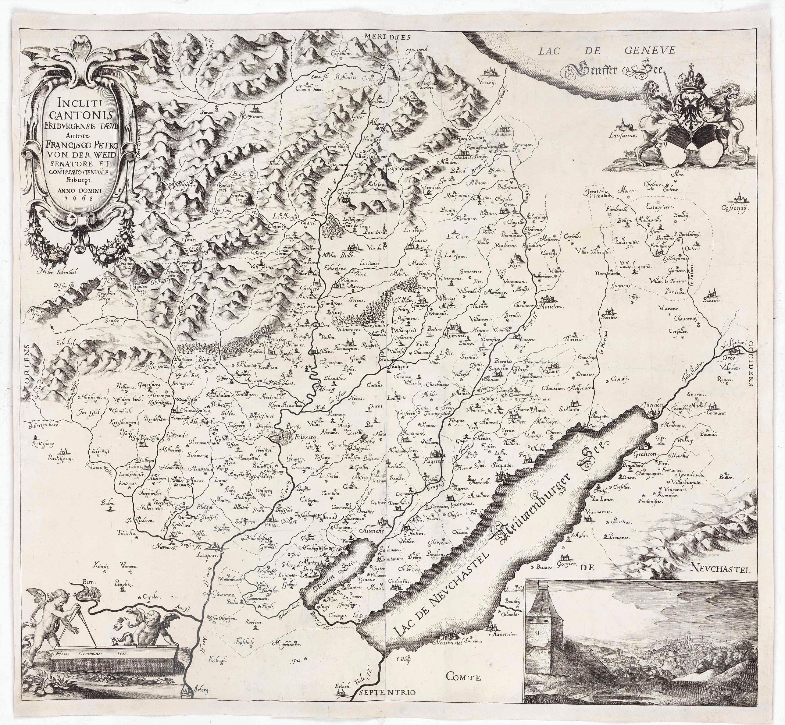 Von  der  WEID,  François  Pierre -  Incliti  Cantonis  Friburgensis  Tabula,  autore Francisco  Petro  VON  DER  WEID.  Senatore  et  Commissario generale  Friburgi.  anno  Domini  1668.