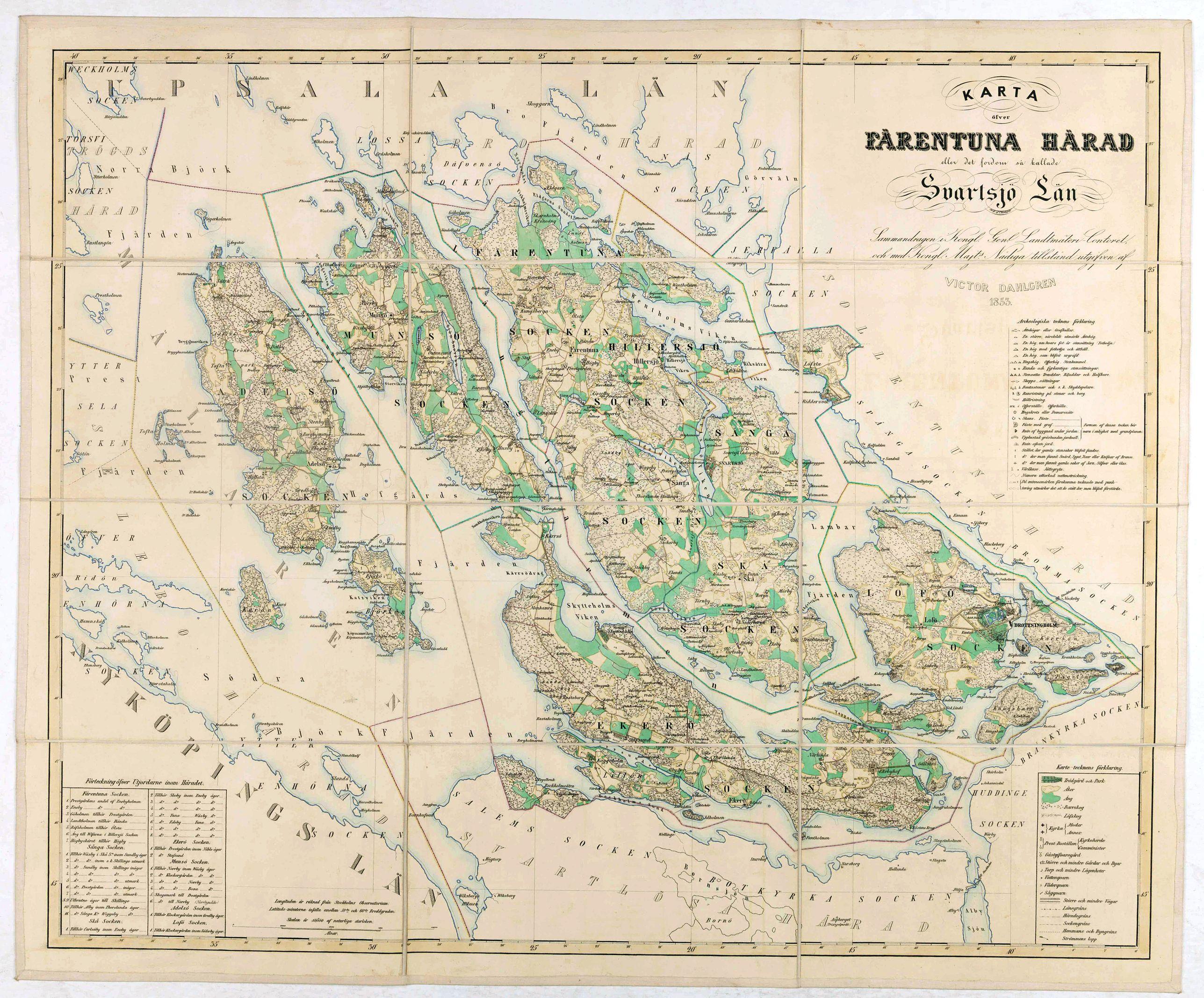 DAHLGREN, V. -  Karta öfver Färentuna härad eller det fordom så kallade Svartsjö län,