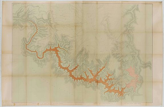 DUTTON, C.E. -  Dutton Map of the Grand Canyon, Arizona (in 4 joined sheets)