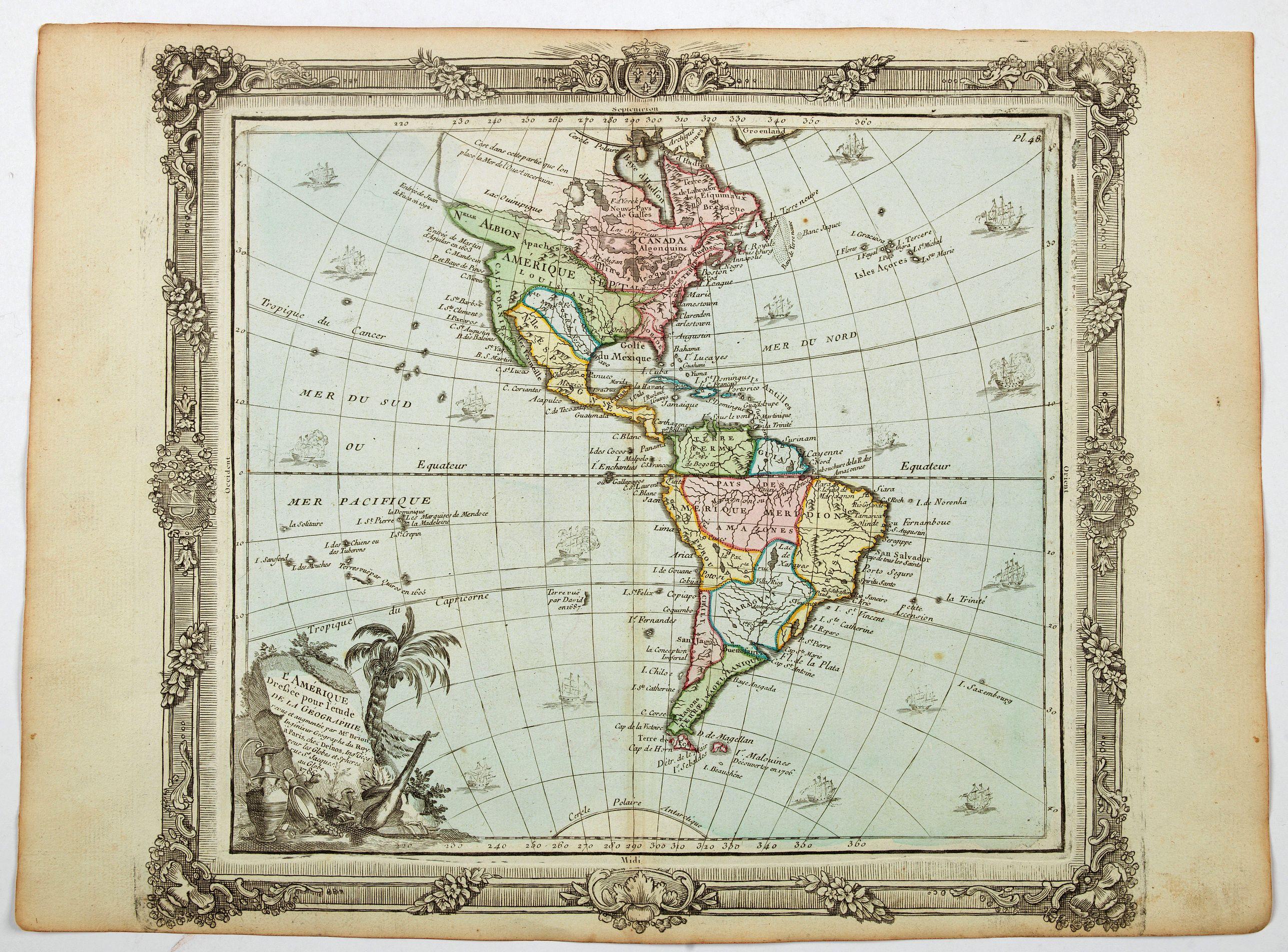 DESNOS / BRION. - L'Amerique dressee pour l'etude de la geogrpahie. . .