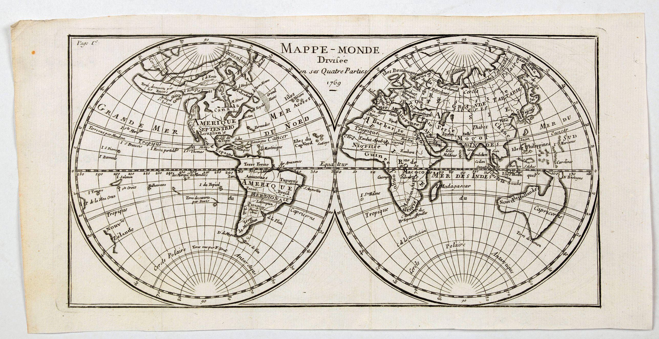 ANONYMOUS. - Mappe-Monde Divisee en ses Quatre Parties 1769.