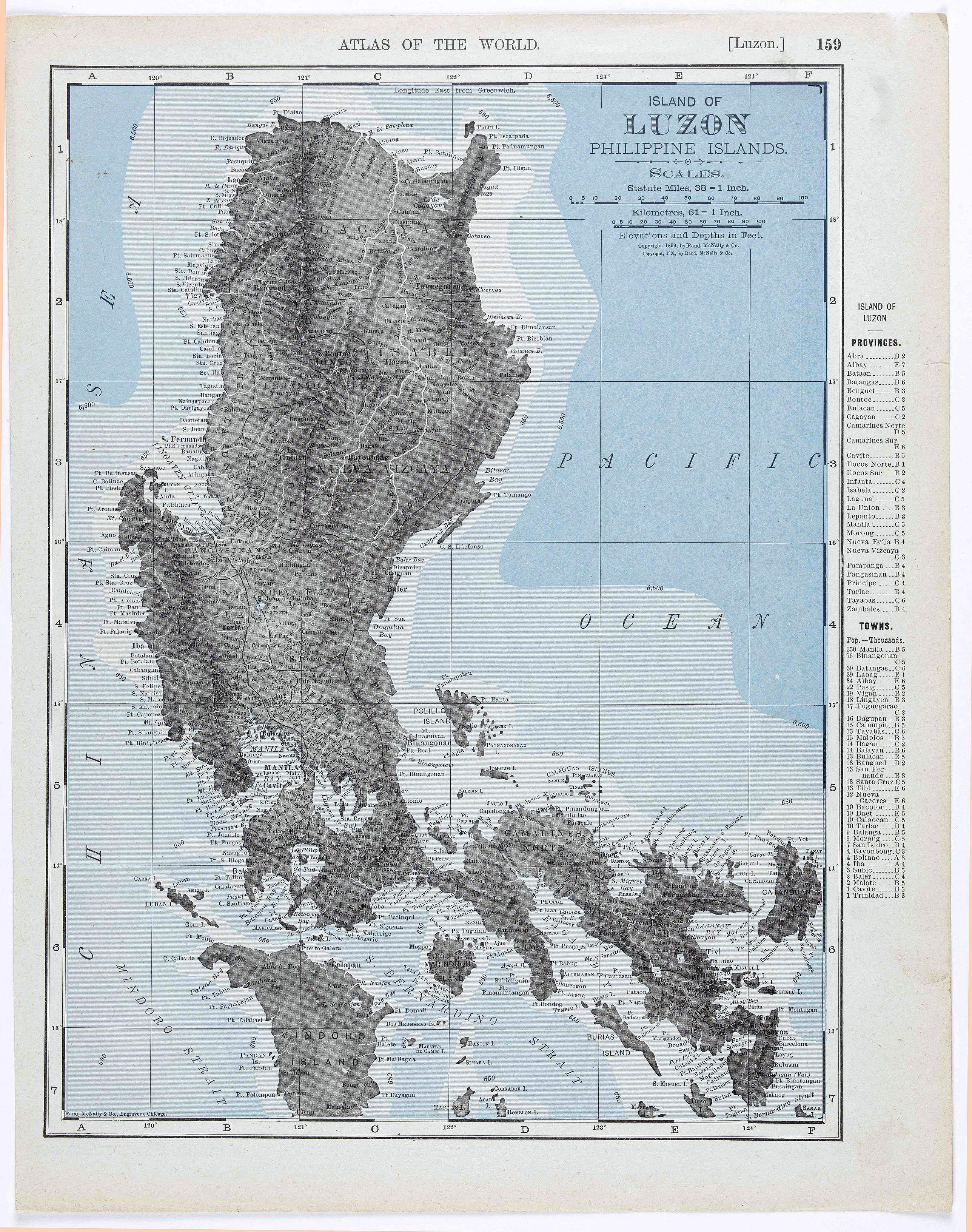 RAND, MC NALLY & CO. - Island of Luzon Philippine Islands.